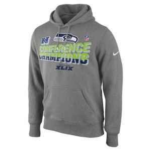Seattle Seahawks Nike 2014 NFC Champions Trophy Collection Locker Room Pullover Hoodie - Gray